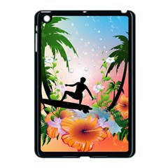 Tropical Design With Surfboarder Apple Ipad Mini Case (black) by FantasyWorld7