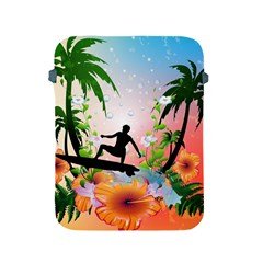 Tropical Design With Surfboarder Apple Ipad 2/3/4 Protective Soft Cases by FantasyWorld7
