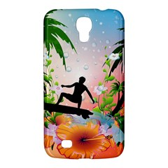 Tropical Design With Surfboarder Samsung Galaxy Mega 6 3  I9200 Hardshell Case by FantasyWorld7