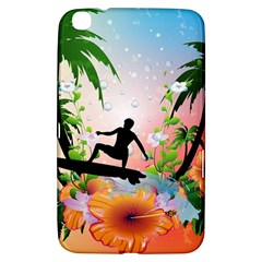 Tropical Design With Surfboarder Samsung Galaxy Tab 3 (8 ) T3100 Hardshell Case  by FantasyWorld7