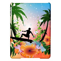 Tropical Design With Surfboarder Ipad Air Hardshell Cases by FantasyWorld7