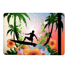 Tropical Design With Surfboarder Samsung Galaxy Tab Pro 10 1  Flip Case by FantasyWorld7