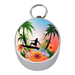 Tropical Design With Surfboarder Mini Silver Compasses by FantasyWorld7