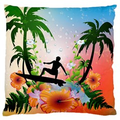 Tropical Design With Surfboarder Large Flano Cushion Cases (two Sides)