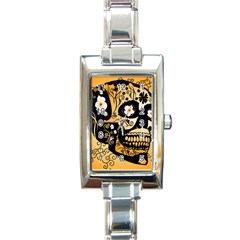 Sugar Skull In Black And Yellow Rectangle Italian Charm Watches by FantasyWorld7