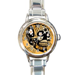 Sugar Skull In Black And Yellow Round Italian Charm Watches by FantasyWorld7