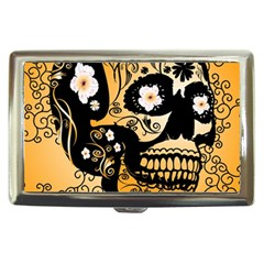 Sugar Skull In Black And Yellow Cigarette Money Cases by FantasyWorld7