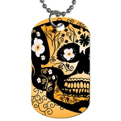 Sugar Skull In Black And Yellow Dog Tag (two Sides) by FantasyWorld7