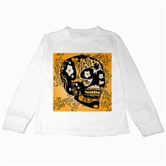 Sugar Skull In Black And Yellow Kids Long Sleeve T-shirts