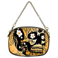 Sugar Skull In Black And Yellow Chain Purses (two Sides)  by FantasyWorld7