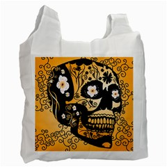 Sugar Skull In Black And Yellow Recycle Bag (two Side)  by FantasyWorld7