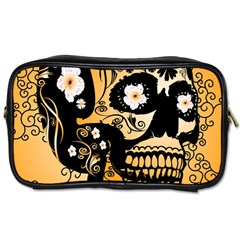 Sugar Skull In Black And Yellow Toiletries Bags 2 Side by FantasyWorld7