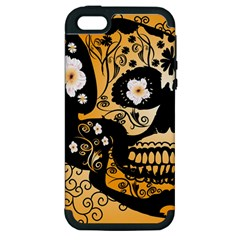 Sugar Skull In Black And Yellow Apple Iphone 5 Hardshell Case (pc+silicone) by FantasyWorld7
