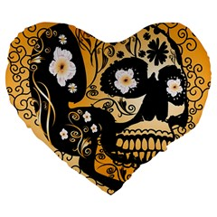Sugar Skull In Black And Yellow Large 19  Premium Flano Heart Shape Cushions