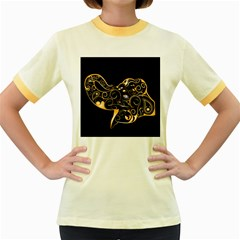 Beautiful Elephant Made Of Golden Floral Elements Women s Fitted Ringer T-shirts by FantasyWorld7