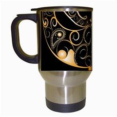 Beautiful Elephant Made Of Golden Floral Elements Travel Mugs (white) by FantasyWorld7