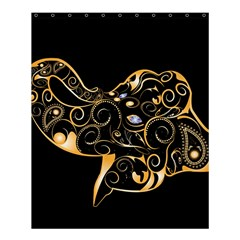 Beautiful Elephant Made Of Golden Floral Elements Shower Curtain 60  X 72  (medium)  by FantasyWorld7