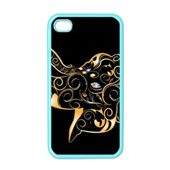 Beautiful Elephant Made Of Golden Floral Elements Apple Iphone 4 Case (color) by FantasyWorld7
