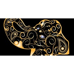 Beautiful Elephant Made Of Golden Floral Elements You Are Invited 3d Greeting Card (8x4)  by FantasyWorld7