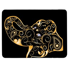 Beautiful Elephant Made Of Golden Floral Elements Samsung Galaxy Tab 7  P1000 Flip Case by FantasyWorld7