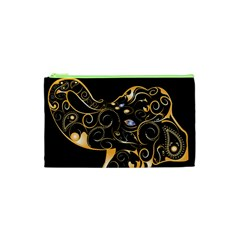 Beautiful Elephant Made Of Golden Floral Elements Cosmetic Bag (xs) by FantasyWorld7