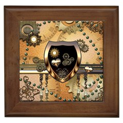 Steampunk, Shield With Hearts Framed Tiles by FantasyWorld7