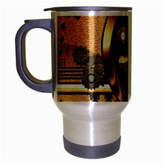 Steampunk, Shield With Hearts Travel Mug (silver Gray)