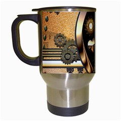 Steampunk, Shield With Hearts Travel Mugs (white) by FantasyWorld7