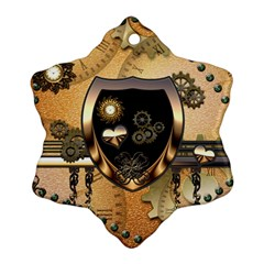 Steampunk, Shield With Hearts Snowflake Ornament (2 Side) by FantasyWorld7