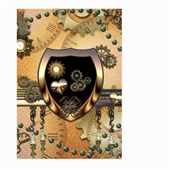 Steampunk, Shield With Hearts Large Garden Flag (two Sides) by FantasyWorld7