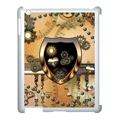 Steampunk, Shield With Hearts Apple Ipad 3/4 Case (white) by FantasyWorld7