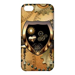 Steampunk, Shield With Hearts Apple Iphone 5c Hardshell Case by FantasyWorld7