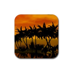 Sunset Over The Beach Rubber Square Coaster (4 Pack)  by FantasyWorld7