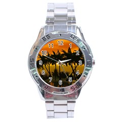 Sunset Over The Beach Stainless Steel Men s Watch by FantasyWorld7