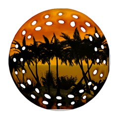 Sunset Over The Beach Round Filigree Ornament (2side)