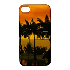 Sunset Over The Beach Apple Iphone 4/4s Hardshell Case With Stand by FantasyWorld7