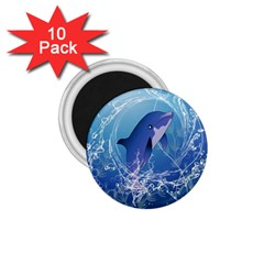 Cute Dolphin Jumping By A Circle Amde Of Water 1 75  Magnets (10 Pack)