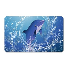 Cute Dolphin Jumping By A Circle Amde Of Water Magnet (rectangular)