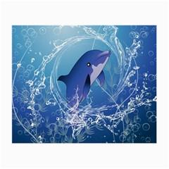 Cute Dolphin Jumping By A Circle Amde Of Water Small Glasses Cloth by FantasyWorld7