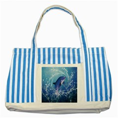 Cute Dolphin Jumping By A Circle Amde Of Water Striped Blue Tote Bag