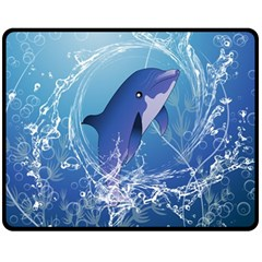 Cute Dolphin Jumping By A Circle Amde Of Water Fleece Blanket (medium)