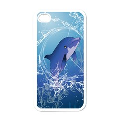 Cute Dolphin Jumping By A Circle Amde Of Water Apple Iphone 4 Case (white) by FantasyWorld7