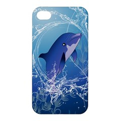 Cute Dolphin Jumping By A Circle Amde Of Water Apple Iphone 4/4s Premium Hardshell Case