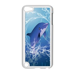 Cute Dolphin Jumping By A Circle Amde Of Water Apple Ipod Touch 5 Case (white) by FantasyWorld7