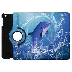 Cute Dolphin Jumping By A Circle Amde Of Water Apple Ipad Mini Flip 360 Case by FantasyWorld7