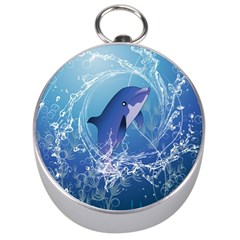 Cute Dolphin Jumping By A Circle Amde Of Water Silver Compasses by FantasyWorld7