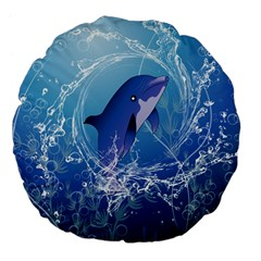 Cute Dolphin Jumping By A Circle Amde Of Water Large 18  Premium Flano Round Cushions
