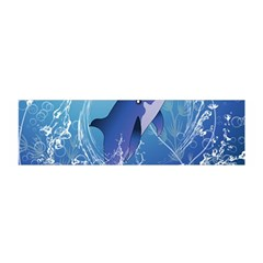 Cute Dolphin Jumping By A Circle Amde Of Water Satin Scarf (oblong)
