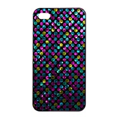 Polka Dot Sparkley Jewels 2 Apple Iphone 4/4s Seamless Case (black) by MedusArt