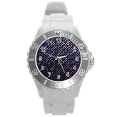 Polka Dot Sparkley Jewels 2 Round Plastic Sport Watch (l) by MedusArt